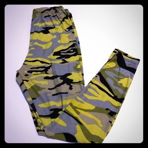 Pants - Buttery Soft Yellow Camo Leggings